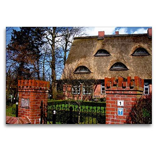 CALVENDO Premium Textil-Leinwand 120 x 80 cm Quer-Format Denkmalgeschützter Bauernhof in Hamelwörden-Altendorf, Leinwanddruck von Henning von Loewis of Menar