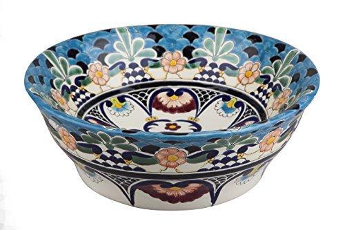 La Reina - Talavera mexikanisches Waschbecken - Cerames | Aufsatzwaschbecken 40,5 x 15 cm | Türkise Waschschale aus Mexiko für Badezimmer, rustikale Küche