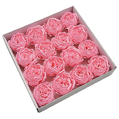 A-Generic 16 unids 10 cm Flor Artificial Peony Jabón Flor Inmortal Flor Boda Día de San Valentín Día de la Madre DIY Ramo Material-Rosa