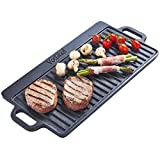 VonShef Non-Stick Cast Iron Reversible Griddle Pan Plate with Easy Clean Non-Stick Coated Surface for BBQ & Camping - Drains Fat for Healthy Cooking - for Induction, Gas & Electric Hobs - 50 x 23cm