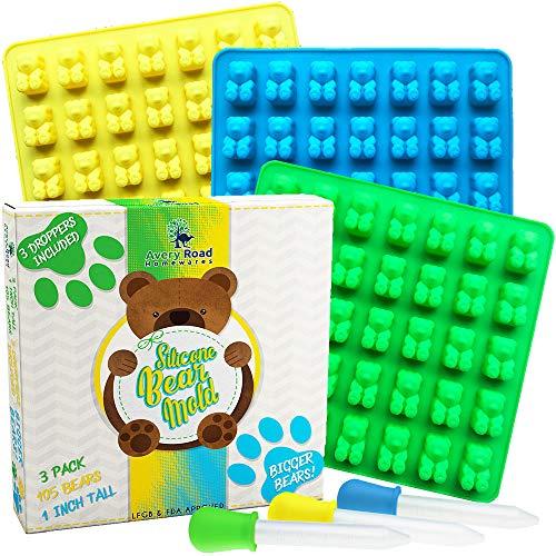 BIGGER Gummy Bear Mold 3 Pack BONUS 3 Droppers