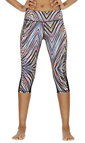 icyzone Damen Sport Mesh Leggings - 3/4 Sporthose kurz Training Tights Fitness Capri Yoga Pants (Fireworks, L)
