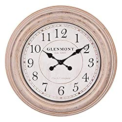 24 Round Distressed Champagne Framed Wall Clock