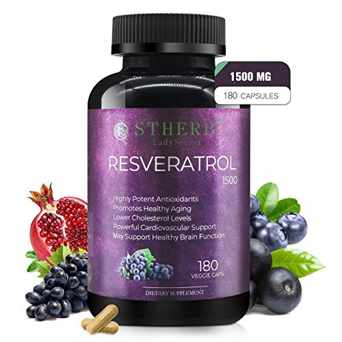 Women Trans-Resveratrol 1,500 mg per Serving (180 Capsules) High Purity Compound Plant Extract Supplement, Cardiovascular Support, Promotes Anti-Aging (1 Bottle)