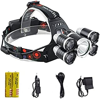 Brightest and Best LED Headlamp 20000 Lumen flashlight - IMPROVED LED, Rechargeable 18650 headlight flashlights, Waterproof Hard Hat Light, Bright Head Lights, Running or Camping headlamps (Silver)