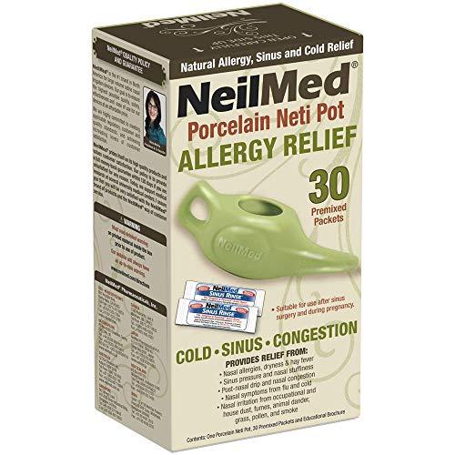 NeilMed Classic Porcelain Neti Pot Green with 30 Premixed Packets