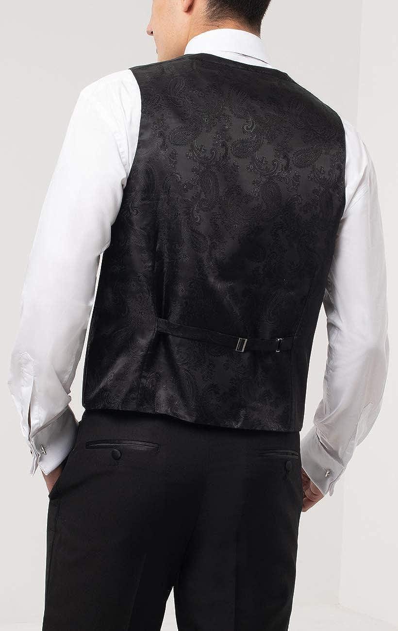 Dobell Mens Black Tuxedo Vest Slim Fit Double Breasted