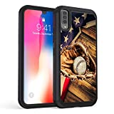 Galaxy A50 Case,Rossy Heavy-Duty Hybrid Hard PC & Soft Silicone Dual Layer Shockproof Protection Case for Samsung Galaxy A50,American Flag Baseball