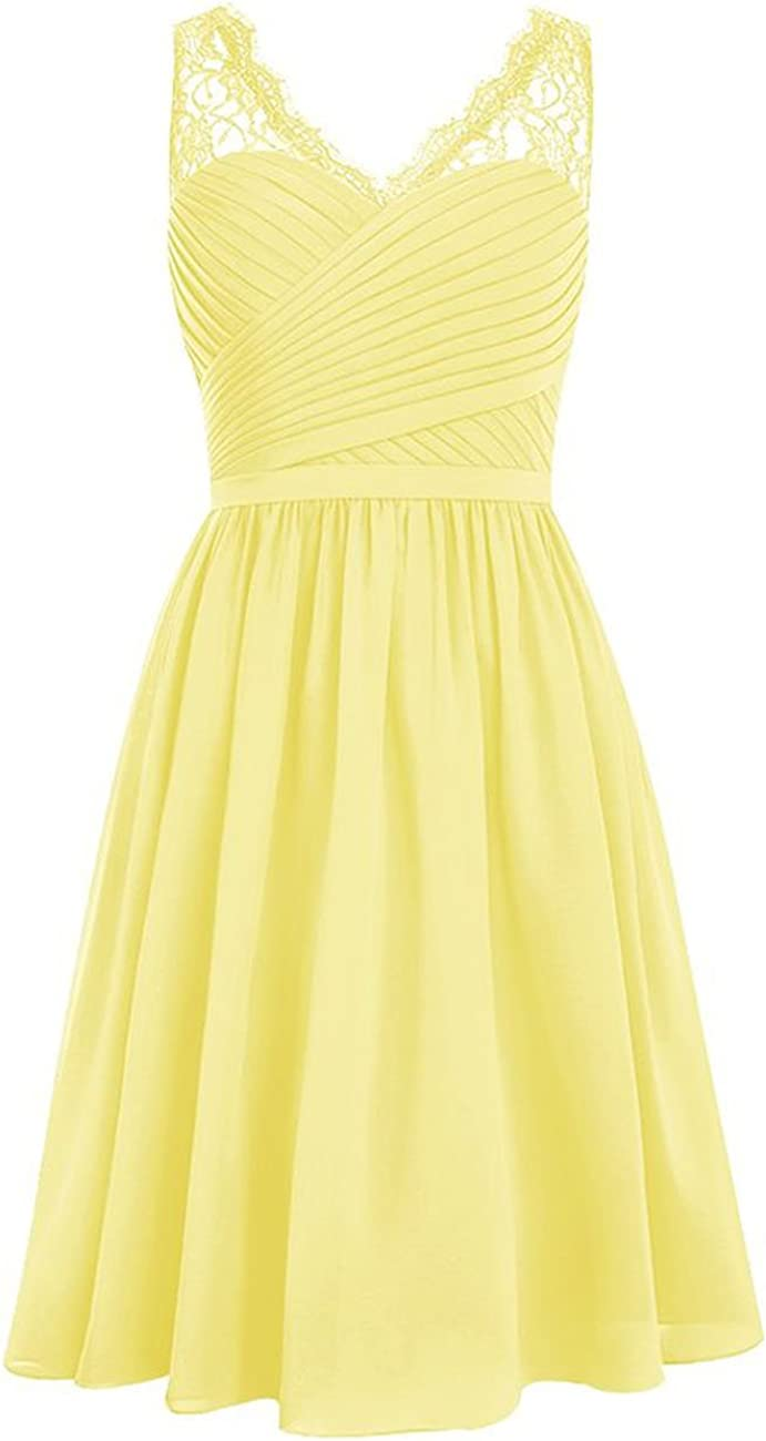 Lace Bridesmaid Dress Short Prom Dresses Chiffon Formal Evening Gown for Wedding