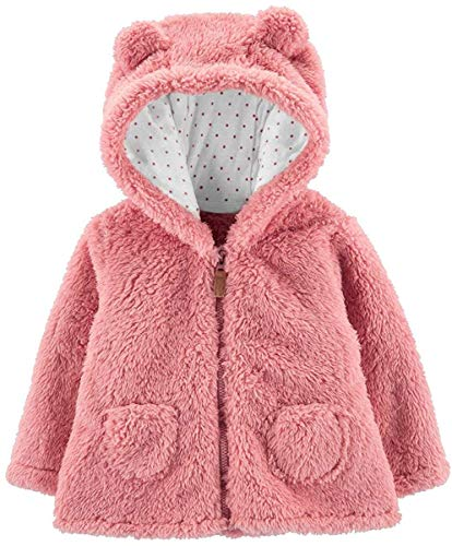 Carter's Zip-Up Sherpa Cardigan Jacket, Pink Sherpa, Newborn