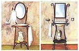 Cuadro Decorativo Vintage de lavabos Antiguos. Set de 2 Unidades de 19 cm x 25 cm x 6 mm unid....