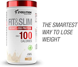 Evolution Advance Nutrition FIT & SLIM PROTEIN + FAT BURNER with only 100 CALORIES per serving. Whey Protein+fiber+Glucomanan+Chromium Picolinate. 2lbs 30 servings. Sweetened with Stevia! (Vanilla)
