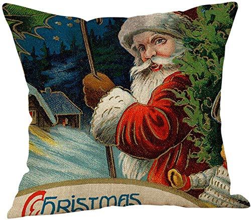 XXLYY Merry Christmas Cotton Linen Pillowcase Xmas Pillow Cover Decor Pillow Case Sofa Waist Throw Cushion Cover Home Decoration Decor Cusion Throw Pillow Cases for Chair Car Pillowcases 45cm45cm (F)