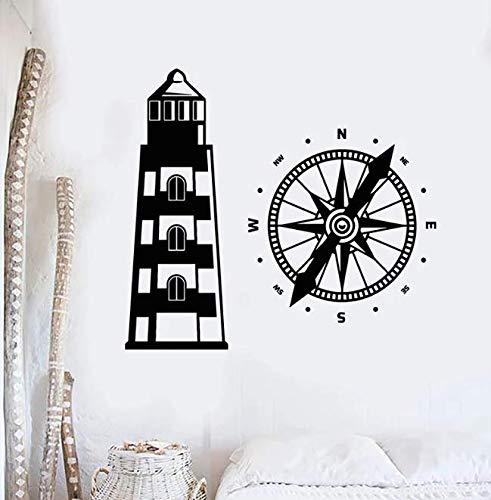 Calcomanía de pared de faro, casa de playa, brújula náutica, pegatinas de vinilo para ventanas, dormitorio de niños, baño, decoración del hogar, Mural 62 * 57Cm