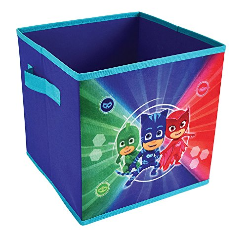 FUN HOUSE 712934 Bac de Rangement avec poignées pour Enfant, PP/Carton/Armature/Plastique, Bleu, 28 x 28 x 28 cm