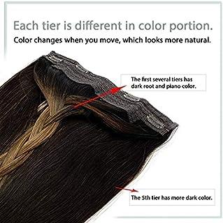 JINGXI Halo hair extension, 100% nano human hair U-shaped hair extension, 20-inch wave type hair extension (Dark brown, 20...
