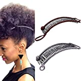 YMHPRIDE 2 Stück Vintage Bananen-Haarspangen Dehnbares Haar-Accessoire 30 Zahn-Bananen-Kamm-Clips für dickes, welliges, verworrenes, natürlich lockiges Haar (tiefbraun/grau)