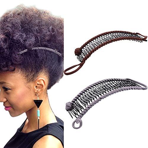 YMHPRIDE 2 pièces vintage pinces à cheveux banane accessoire de cheveux extensible 30 dents pince à peigne banane pour cheveux épais ondulés crépus naturellement bouclés (brun foncé/gris)