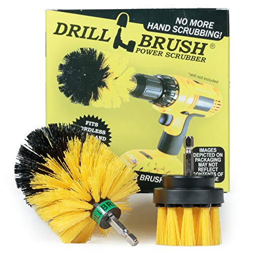Drillbrush 2 piezas Mini tamaño mediano Rigidez Taladro Kit accionado Cepillo de limpieza para limpieza de azulejos, lechada, ducha, bañera, y de uso general de fregado amarillo-medio