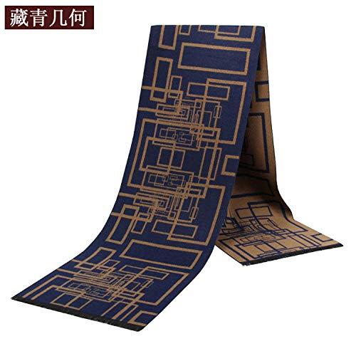 QueenAILSA klassiek modern sjaal, herensjaal in de herfst en winter van geborsteld katoen met geometrisch patroon, fashion luxe scharnieren