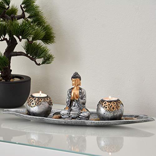 INtrenDU Dekoschale Teelichthalter 40cm orientalisch mit Buddha Figur Dekosteinen und Zwei Teelichthaltern zur Meditation