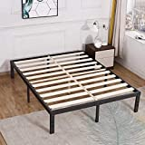 TATAGO 3500lbs Upgraded Heavy Duty Wooden Slats Queen Platform Bed Frame, 14 Inch Tall Mattress Foundation, Extra-Strong Support, No Noise & No Box Spring Needed