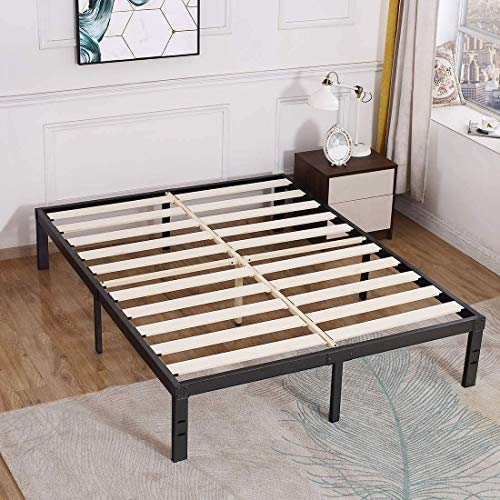 TATAGO 3500lbs Max Weight Capacity 14 inch Queen Bed Frame, Heavy Duty Metal Platform, Mattress Foundation with Wooden Slats, Non-Slip, No Noise and No Box Spring Needed