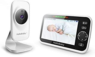 Baby Monitor,HelloBaby Baby Monitor with Camera and Audio, 5'' Color LCD Screen, Infrared Night Vision Camera,VOX Mode, Te...