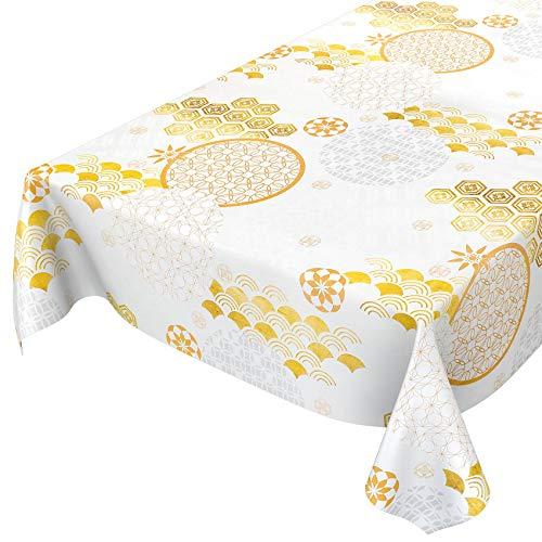 ANRO Tischdecke Wachstuch abwaschbar Wachstuchtischdecke Wachstischdecke Abstrakt Weiß Gold Ultramodern 200x140cm