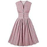 Hopereo a cuadros para mujer vintage pinup Swing Vestidos 50S 60S estampado floral sexy cuello en V ...
