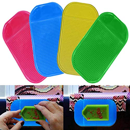 4 Pcs Anti-Slip Tools Sticky Mat, Car Dashboard Anti-Slip Mat for Mobile Phone, Non-Slid Mat Sticky Pad Holder Universal Silicone Gel Pad (5.5 Inches)