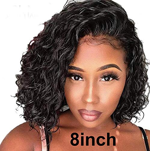 Short Bob Lace Front Human Hair Wigs With Baby Hair 150% Density For Black Women Pre Plucked Hairline Brazilian Virgin Full Lace Human Hair Wigs Loose Curly Hair Natural Color (Lace Front Wig 8)