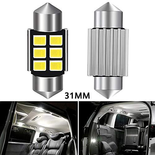 LOVELY Luces de matrícula de Coche 2X C5W LED C10W Bombilla Interior del automóvil Festoon 31mm 36mm 42mm SMD 2835 Ningún Error Leer cúpula Lámpara Lámpara 12V 6000K Blanco Universal (Color : 31mm)