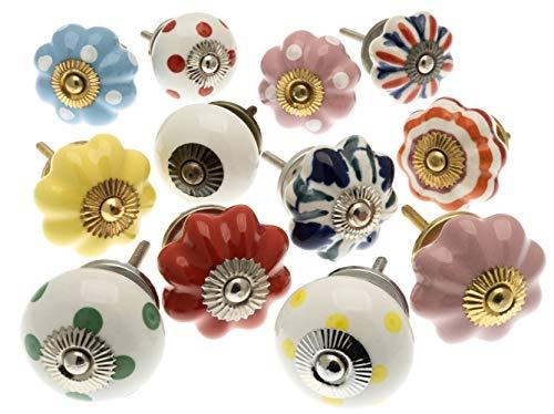 knoa, pomelli per mobili in ceramica dipinti a mano, per armadi e cassetti, confezione da 12