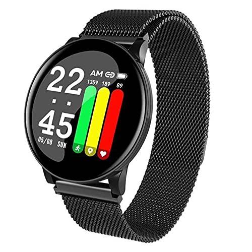 YDZ W8 Smart Watch Hombre Ritmo Cardíaco Reloj De Presión Arterial Redondo Bluetooth Impermeable Smartwatch Women's Sports Health Pulsera Inteligente para Android iOS,B