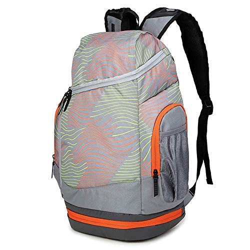 Outdoor sports and fitness backpack large capacity lightweight bag, student basketball training backpack multi-function travel climbing shopping storage bag (52×43cm) (A)