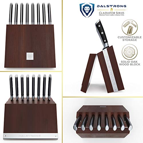 "DALSTRONG Steak Knife Folding Block Set - 8-Piece Set - 5"" Straight Edge Blade - Gladiator Series - Forged German ThyssenKrupp HC Steel - Modular Storage Block - Black G10 Handle"