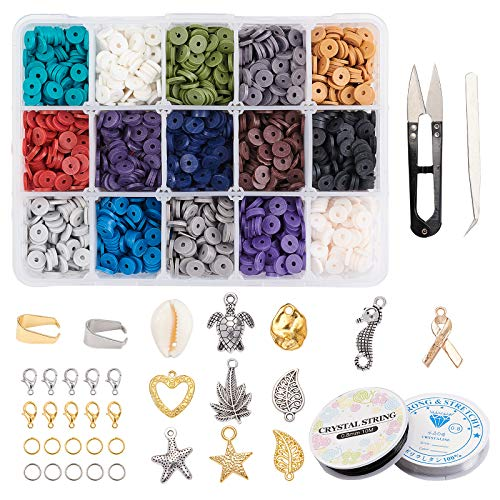 PH PandaHall Jewelry Making Kit, 3000 pcs 15 Colors 6mm Flat Round Polymer Clay Beads Metal Space Beads Open Jump Rings Elastic Beading Cord for Earring Choker Bracelet Necklace Jewelry Making