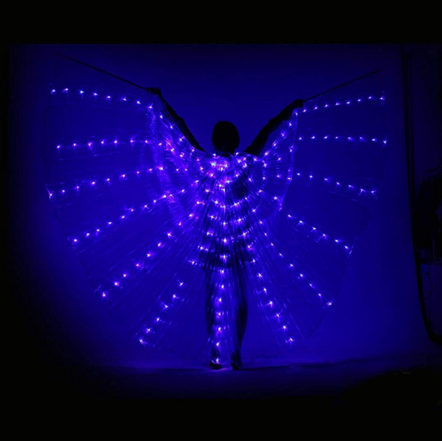 Dance Fairy Opening Belly Dance LED Isis Wings with Sticks RodsWings 360 LED Luminous Light Up Stage Performance Props Passed CE, FCC CertificationMulticolor