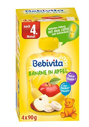 Bebivita Baby Quetschbeutel Banane in Apfel, 4er Pack ( 4 x 4 x 90 g )