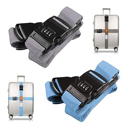 AODOOR 4 correas de equipaje con cruz para equipaje de viaje, accesorios de viaje, cinta ajustable para equipaje segura de viaje, con candado de combinación (gris azul)