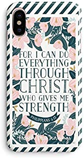 iPhone Xs Max Case for Girls,Cute Flowers Floral Bible Verses Women Quote Christian Inspirational Motivational Stripe Philippians 4:13 Strength Soft Clear Side Case Compatible for iPhone Xs Max