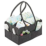 mDesign Wickeltisch Organizer – Wickeltasche mit 4 Fächern und Außentaschen für Windeln, Babyöl, Schnuller etc. – tragbare Baby Box mit Griff aus Kunstfaser – grau