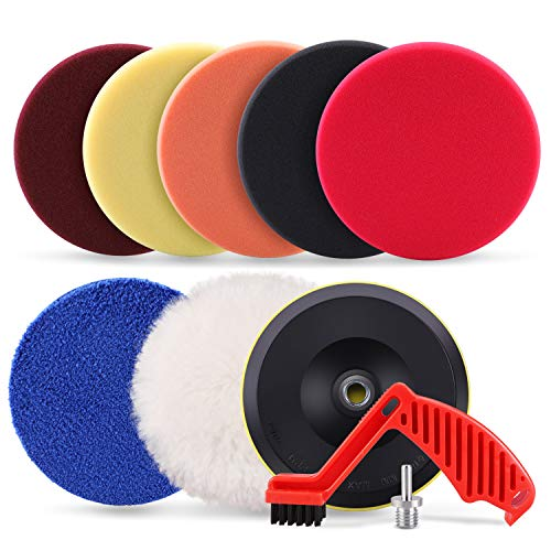 "SPTA 9pcs Polishing Pads Kit, 7 Inches Large Size Buffing Pads, Car Foam Buffing Sponge Pads Kit with 5/8""-11 Drill Adapter for Car Care Polisher Boat Waxing Polishing Sealing Glaze"