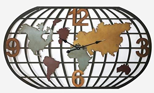 DECOHOUSE - Reloj DE Pared - Relojes Decorativos DISEÑO Mapa Mundi - 120x3x66cm - Decorar Salones pasillos - Regalo Original