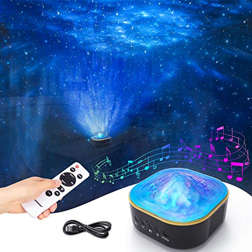 Galaxy Projector, Powaiter 3 in 1 Star Projector Starry Night Light with LED Nebula/Ocean Wave for Baby/Kids/Adults, Built-in Wireless Speaker & Timer Function, Perfect for Bedroom/Party/Home Theatre