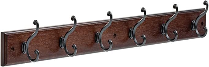 165541 Coat Rack, 27-Inch, Wall Mounted Coat Rack with 6 Decorative Hooks, Soft Iron and Cocoa
