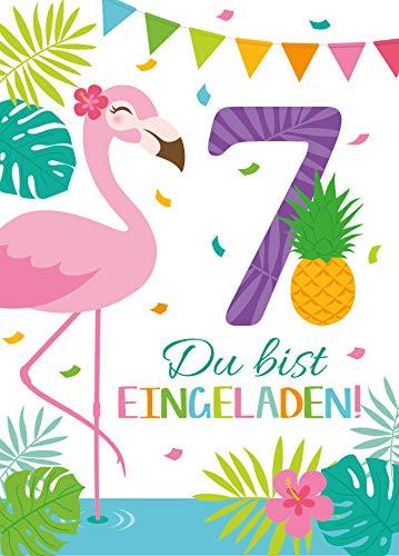 Junaversum 12 Einladungskarten zum 7. Geburtstag Kinder fünfte Kindergeburtstag Mädchen Flamingo