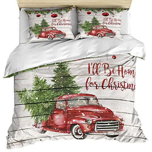 3 Piece Bedding Set Comforter/Quilt Cover Set California King, I'll Be Home Christmas Red Vintage Truck Carrying Xmas Trees Duvet Cover Set with 2 Pillow Shams for Kids/Teens/Adults/Toddler