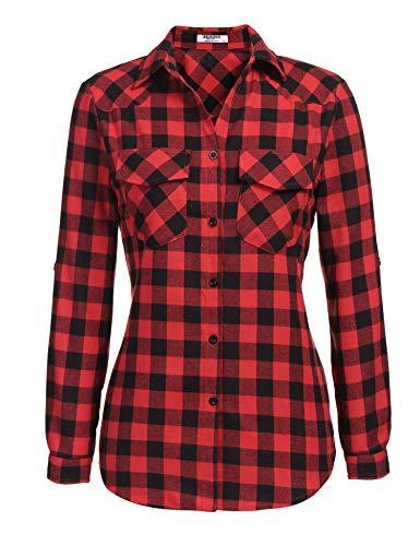 Zeagoo Womens Plaid Shirt, Roll up Sleeve Casual Boyfriend Button Down Tartan Flannel Shirt, Red, Large